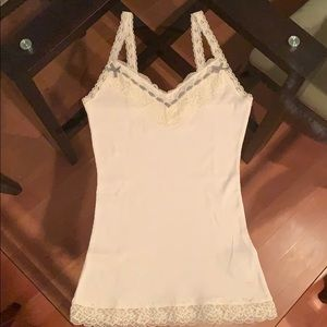 white tank top with grey bows on neck, lace straps
